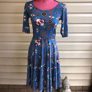 LuLaRoe Nicole Dress Blue Navajo Print NWOT Arrows